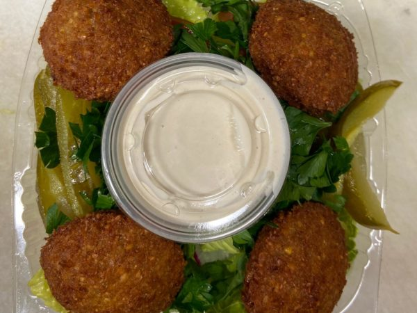 falafel salad with tahini sauce